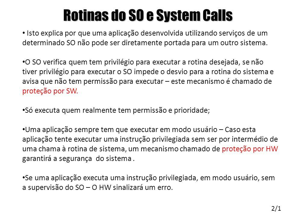 Rotinas do SO e System Calls Isto explica por que uma aplicação desenvolvida utilizando serviços de um determinado SO não pode ser diretamente portada