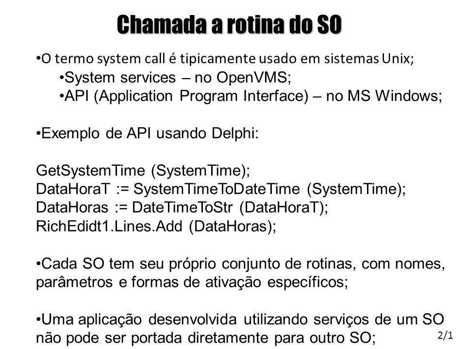 Chamada a rotina do SO O termo system call é tipicamente usado em sistemas Unix; System services – no OpenVMS; API (Application Program Interface) – n