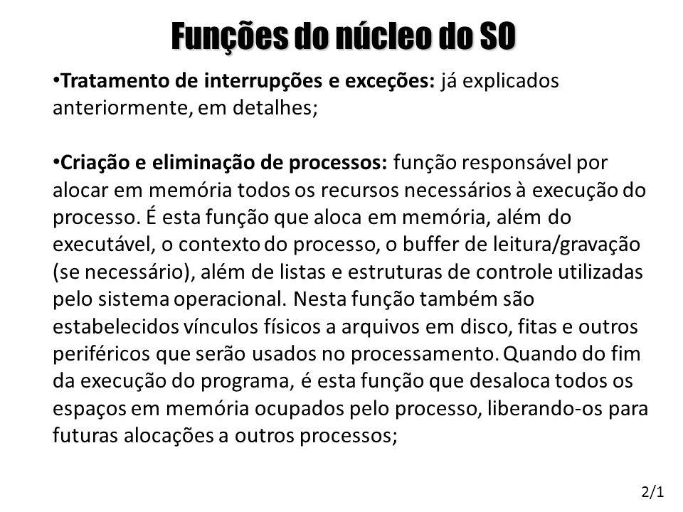 Funções do núcleo do SO Tratamento de interrupções e exceções: já explicados anteriormente, em detalhes; Criação e eliminação de processos: função res