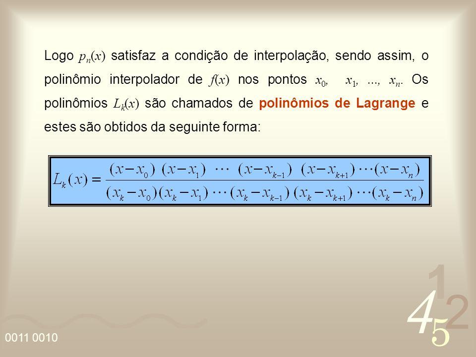 4 2 5 1 0011 0010 Logo p n (x) satisfaz a condição de interpolação, sendo assim, o polinômio interpolador de f(x) nos pontos x 0, x 1,..., x n.