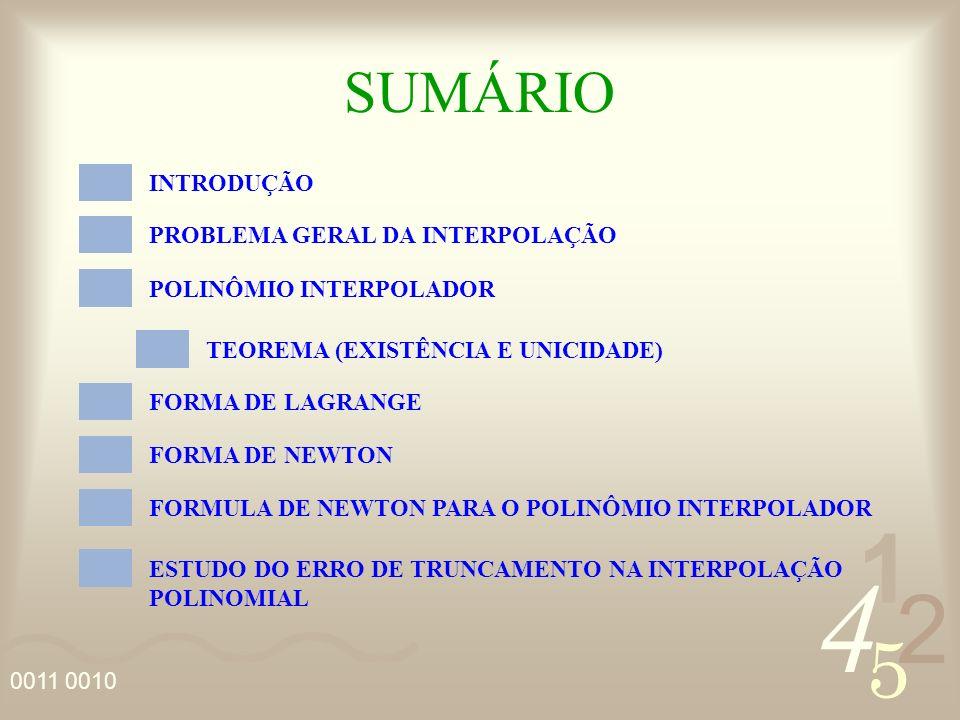 4 2 5 1 0011 0010 SUMÁRIO INTRODUÇÃO PROBLEMA GERAL DA INTERPOLAÇÃO POLINÔMIO INTERPOLADOR TEOREMA (EXISTÊNCIA E UNICIDADE) FORMA DE LAGRANGE FORMA DE NEWTON FORMULA DE NEWTON PARA O POLINÔMIO INTERPOLADOR ESTUDO DO ERRO DE TRUNCAMENTO NA INTERPOLAÇÃO POLINOMIAL