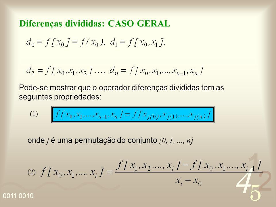 4 2 5 1 Diferenças divididas: CASO GERAL Pode-se mostrar que o operador diferenças divididas tem as seguintes propriedades: onde j é uma permutação do conjunto {0, 1,..., n} (1) (2)