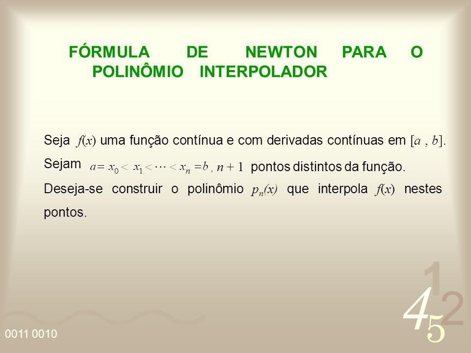 4 2 5 1 0011 0010 FÓRMULA DE NEWTON PARA O POLINÔMIO INTERPOLADOR Seja f(x) uma função contínua e com derivadas contínuas em [a, b].