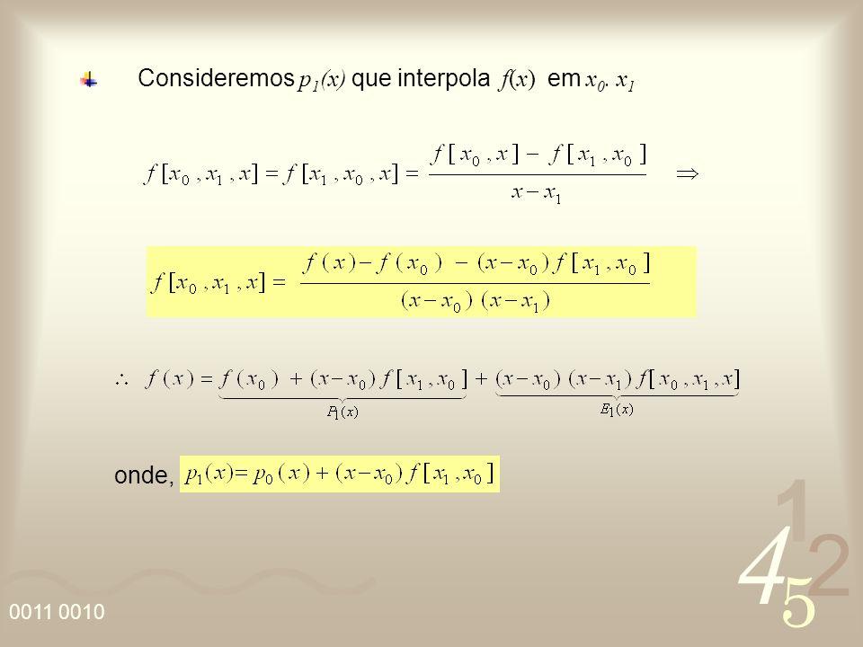 4 2 5 1 0011 0010 Consideremos p 1 (x) que interpola f(x) em x 0. x 1 onde,