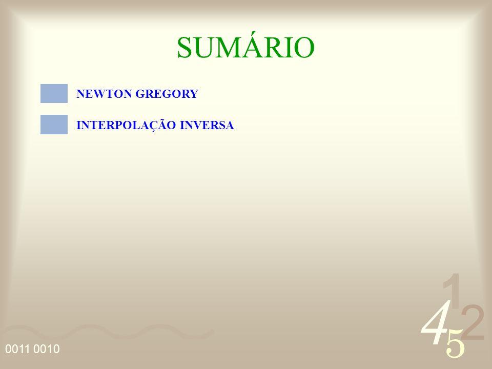 4 2 5 1 0011 0010 SUMÁRIO NEWTON GREGORY INTERPOLAÇÃO INVERSA