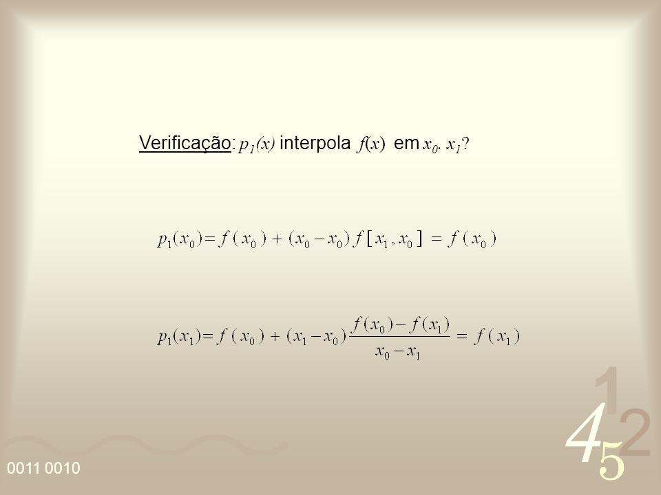 4 2 5 1 0011 0010 Verificação: p 1 (x) interpola f(x) em x 0. x 1 ?