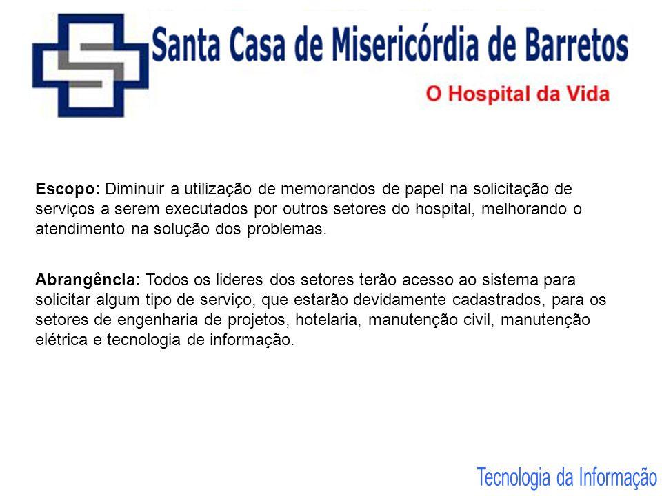 Escopo: Diminuir a utilização de memorandos de papel na solicitação de serviços a serem executados por outros setores do hospital, melhorando o atendi