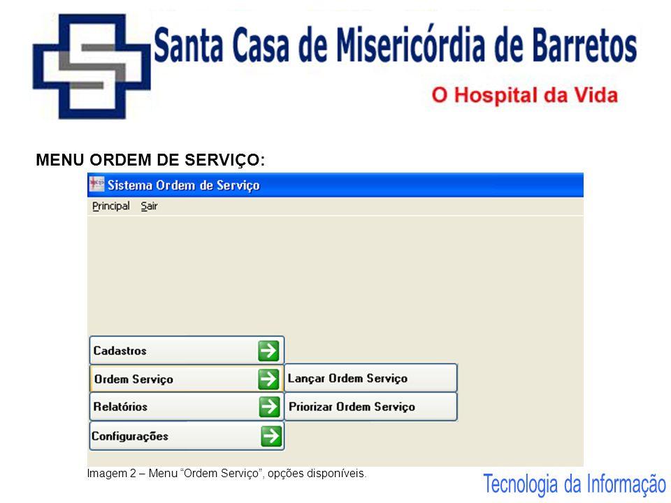 MENU ORDEM DE SERVIÇO: Imagem 2 – Menu Ordem Serviço, opções disponíveis.