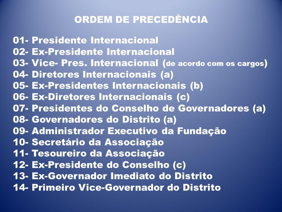 ORDEM DE PRECEDÊNCIA 01- Presidente Internacional 02- Ex-Presidente Internacional 03- Vice- Pres. Internacional ( de acordo com os cargos ) 04- Direto