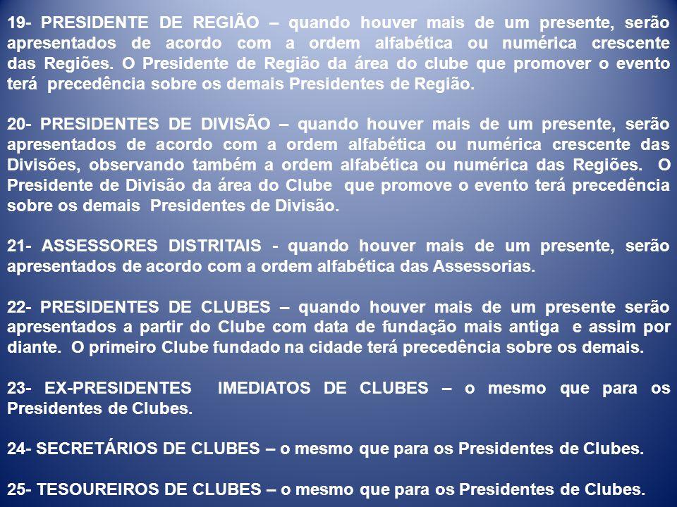 19- PRESIDENTE DE REGIÃO – quando houver mais de um presente, serão apresentados de acordo com a ordem alfabética ou numérica crescente das Regiões. O