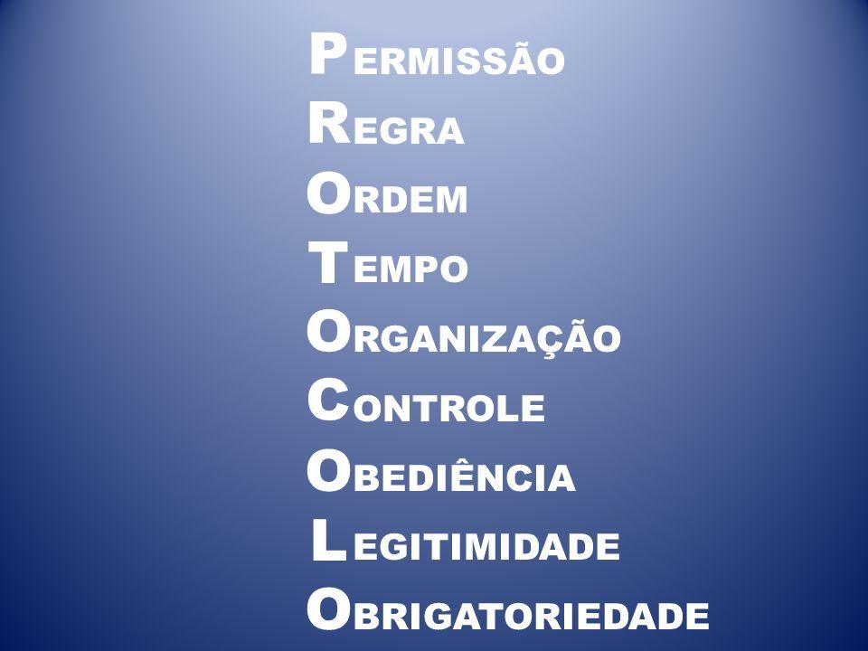 ERMISSÃO EGRA RDEM EMPO RGANIZAÇÃO ONTROLE BEDIÊNCIA EGITIMIDADE BRIGATORIEDADE P R O T O O O L C