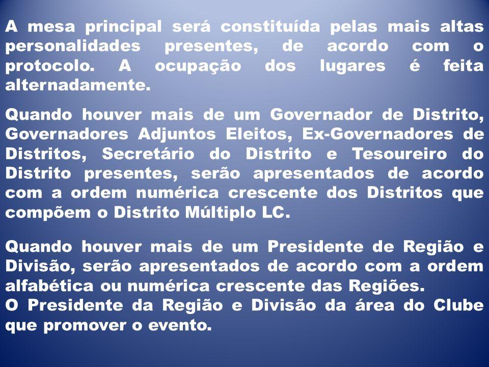 A mesa principal será constituída pelas mais altas personalidades presentes, de acordo com o protocolo. A ocupação dos lugares é feita alternadamente.