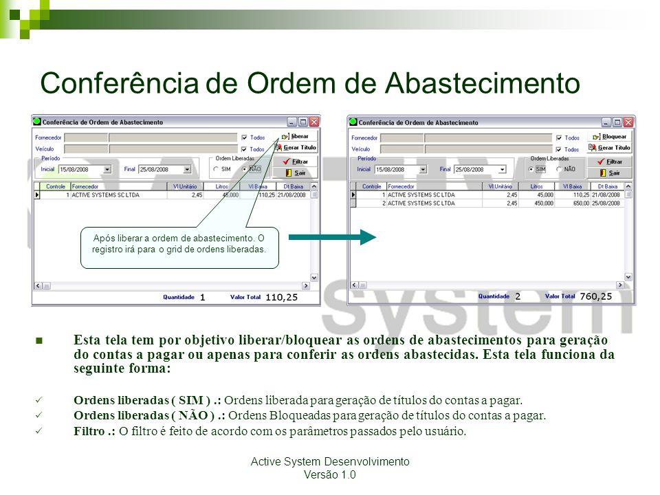 Active System Desenvolvimento Versão 1.0 Conferência de Ordem de Abastecimento Esta tela tem por objetivo liberar/bloquear as ordens de abastecimentos