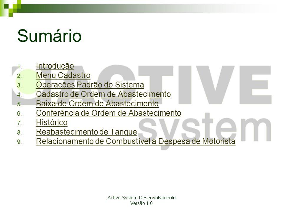 Active System Desenvolvimento Versão 1.0 Sumário 1. Introdução Introdução 2. Menu Cadastro Menu Cadastro 3. Operações Padrão do Sistema Operações Padr