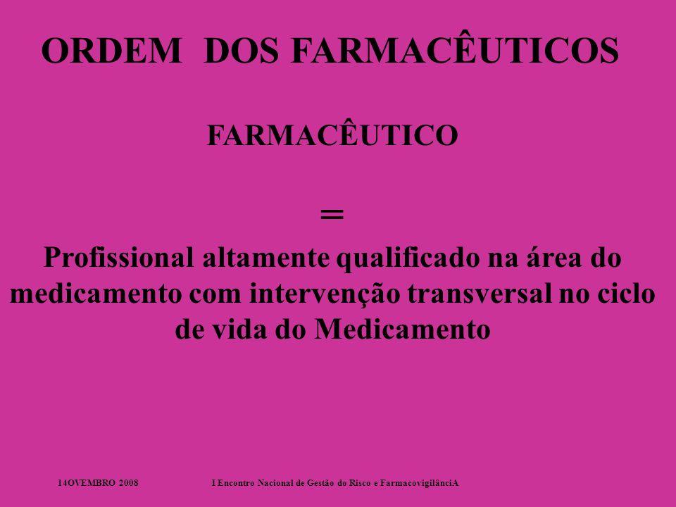 14OVEMBRO 2008I Encontro Nacional de Gestão do Risco e FarmacovigilânciA ORDEM DOS FARMACÊUTICOS FARMACÊUTICO = Profissional altamente qualificado na área do medicamento com intervenção transversal no ciclo de vida do Medicamento
