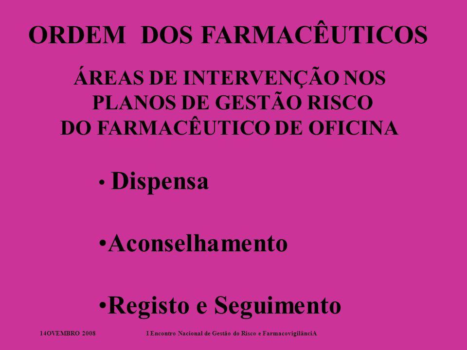 14OVEMBRO 2008I Encontro Nacional de Gestão do Risco e FarmacovigilânciA ORDEM DOS FARMACÊUTICOS ÁREAS DE INTERVENÇÃO NOS PLANOS DE GESTÃO RISCO DO FARMACÊUTICO DE ANALÍSES CLÍNICAS Implementação Seguimento