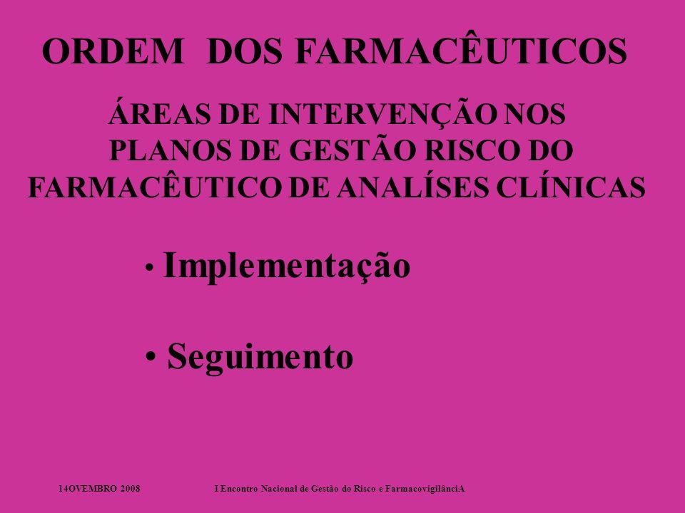 14OVEMBRO 2008I Encontro Nacional de Gestão do Risco e FarmacovigilânciA ORDEM DOS FARMACÊUTICOS ÁREAS DE INTERVENÇÃO NOs PLANOS DE GESTÃO RISCO DO FARMACÊUTICO HOSPITALAR Dispensa Apoio Farmaco-Terapêutico Registo e Seguimento