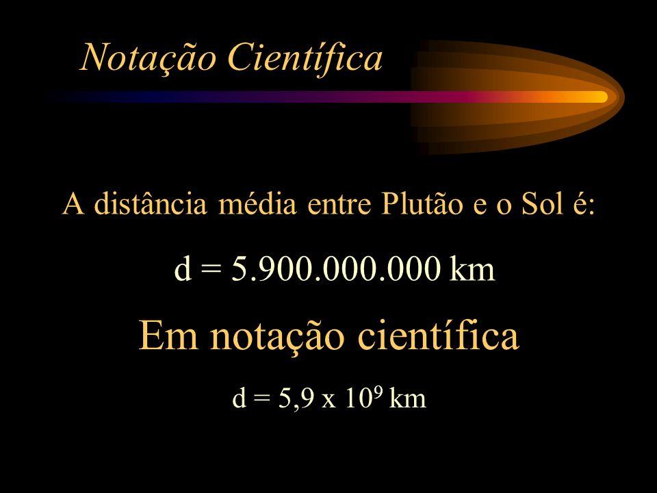 Notação Científica A distância média entre Plutão e o Sol é: d = 5.900.000.000 km Em notação científica d = 5,9 x 10 9 km