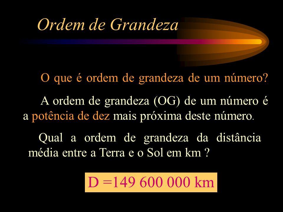 Ordem de Grandeza O que é ordem de grandeza de um número? A ordem de grandeza (OG) de um número é a potência de dez mais próxima deste número. Qual a