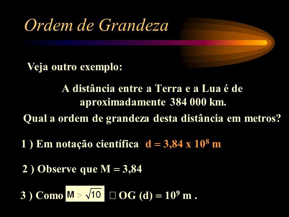 A distância entre a Terra e a Lua é de aproximadamente 384 000 km. Qual a ordem de grandeza desta distância em metros? Ordem de Grandeza 1 ) Em notaçã