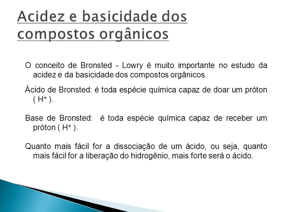 O conceito de Bronsted - Lowry é muito importante no estudo da acidez e da basicidade dos compostos orgânicos.