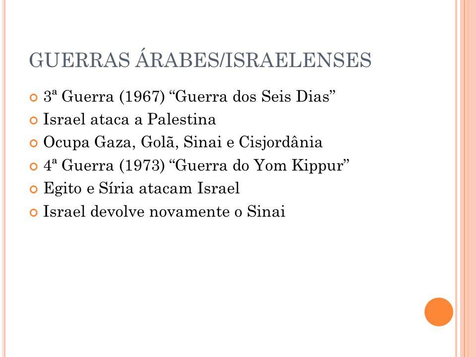 GUERRAS ÁRABES/ISRAELENSES 3ª Guerra (1967) Guerra dos Seis Dias Israel ataca a Palestina Ocupa Gaza, Golã, Sinai e Cisjordânia 4ª Guerra (1973) Guerr