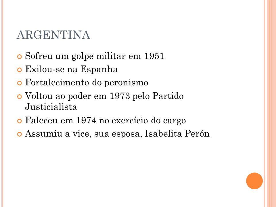 ARGENTINA Sofreu um golpe militar em 1951 Exilou-se na Espanha Fortalecimento do peronismo Voltou ao poder em 1973 pelo Partido Justicialista Faleceu