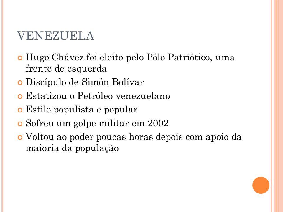 VENEZUELA Hugo Chávez foi eleito pelo Pólo Patriótico, uma frente de esquerda Discípulo de Simón Bolívar Estatizou o Petróleo venezuelano Estilo popul