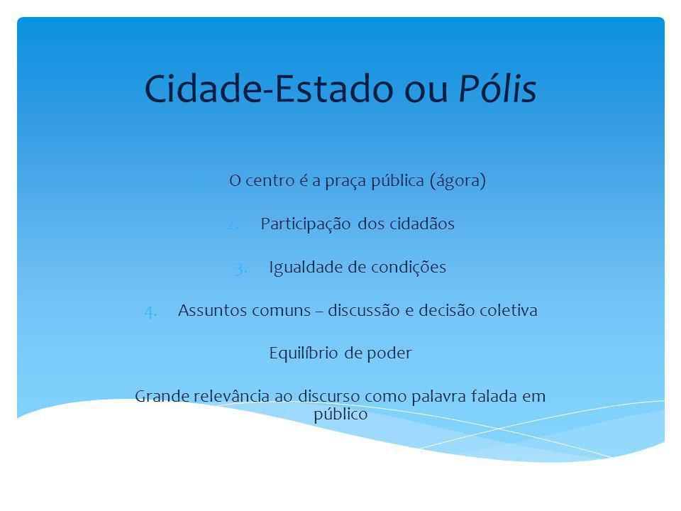 Cidade-Estado ou Pólis 1.O centro é a praça pública (ágora) 2.Participação dos cidadãos 3.Igualdade de condições 4.Assuntos comuns – discussão e decis