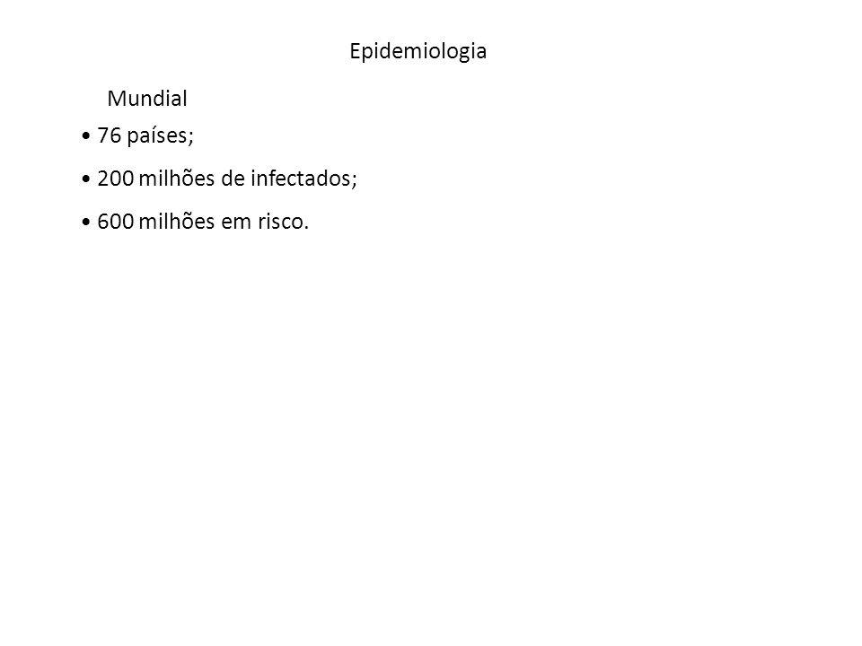 Epidemiologia 76 países; 200 milhões de infectados; 600 milhões em risco. Mundial