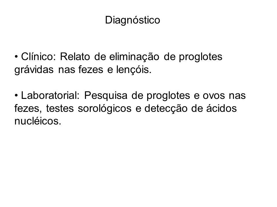 Diagnóstico Clínico: Relato de eliminação de proglotes grávidas nas fezes e lençóis. Laboratorial: Pesquisa de proglotes e ovos nas fezes, testes soro