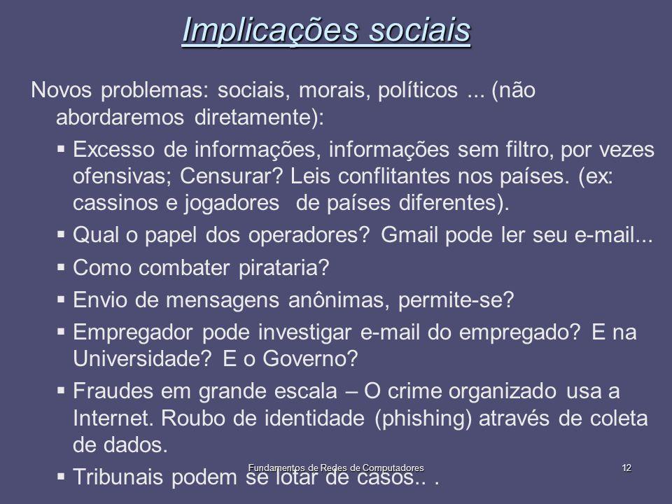 Fundamentos de Redes de Computadores12 Implicações sociais Novos problemas: sociais, morais, políticos... (não abordaremos diretamente): Excesso de in