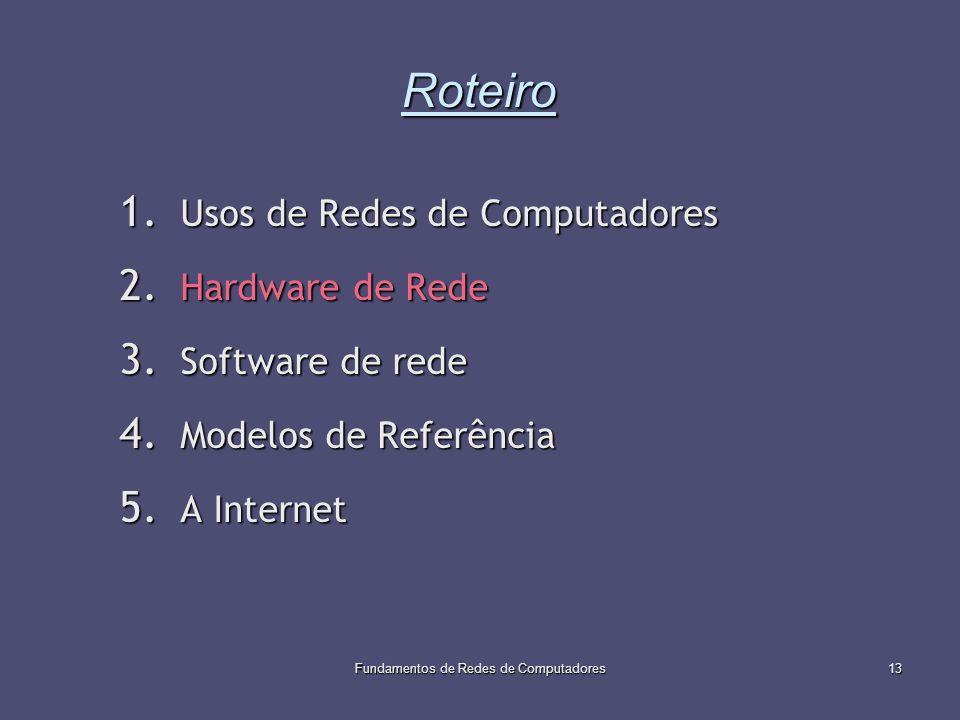 Fundamentos de Redes de Computadores13 Roteiro 1. Usos de Redes de Computadores 2. Hardware de Rede 3. Software de rede 4. Modelos de Referência 5. A