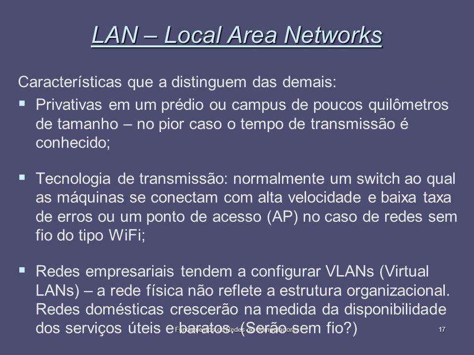 Fundamentos de Redes de Computadores17 LAN – Local Area Networks Características que a distinguem das demais: Privativas em um prédio ou campus de pou