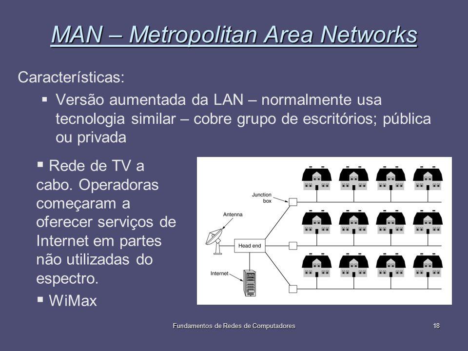 Fundamentos de Redes de Computadores18 MAN – Metropolitan Area Networks Características: Versão aumentada da LAN – normalmente usa tecnologia similar