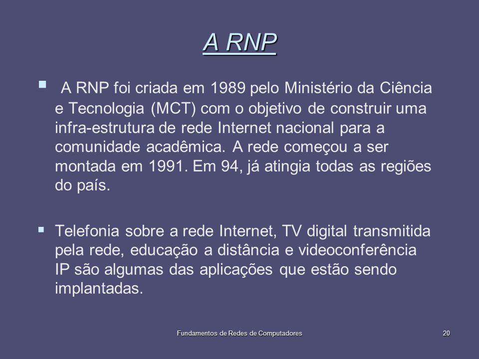 Fundamentos de Redes de Computadores20 A RNP A RNP foi criada em 1989 pelo Ministério da Ciência e Tecnologia (MCT) com o objetivo de construir uma in