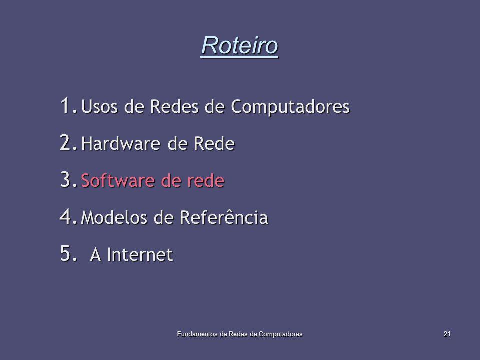 Fundamentos de Redes de Computadores21 Roteiro 1. Usos de Redes de Computadores 2. Hardware de Rede 3. Software de rede 4. Modelos de Referência 5. A