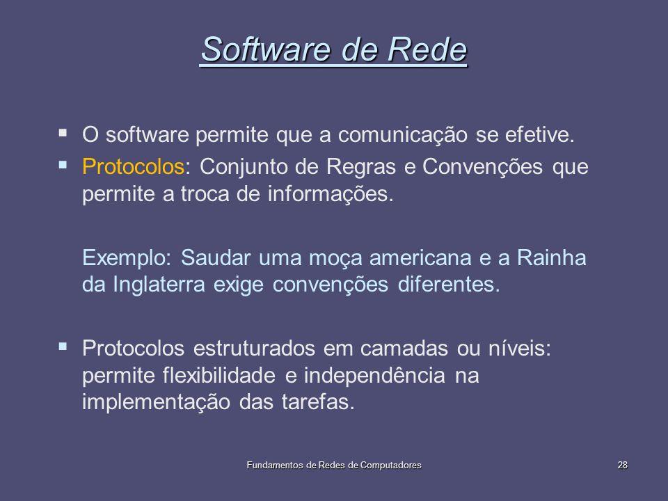 Fundamentos de Redes de Computadores28 Software de Rede O software permite que a comunicação se efetive. Protocolos: Conjunto de Regras e Convenções q