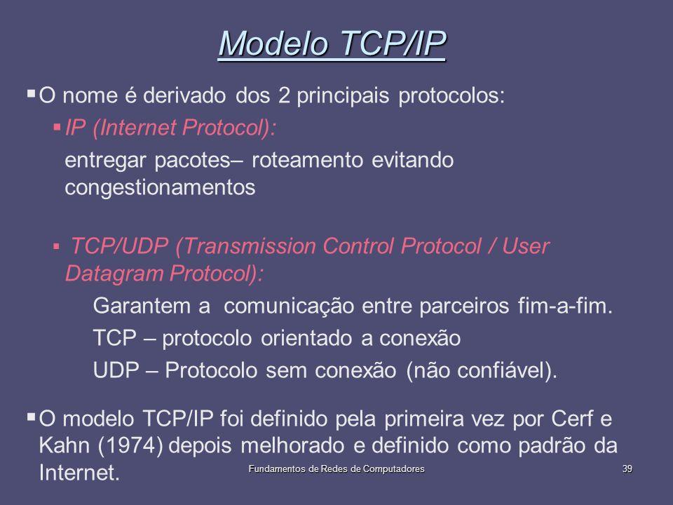 Fundamentos de Redes de Computadores39 Modelo TCP/IP O nome é derivado dos 2 principais protocolos: IP (Internet Protocol): entregar pacotes– roteamen