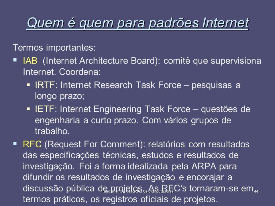 Fundamentos de Redes de Computadores44 Quem é quem para padrões Internet Termos importantes: IAB (Internet Architecture Board): comitê que supervision