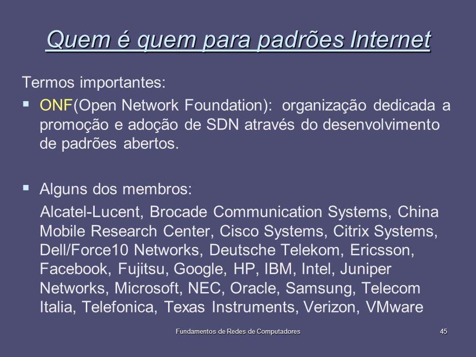 Fundamentos de Redes de Computadores45 Quem é quem para padrões Internet Termos importantes: ONF(Open Network Foundation): organização dedicada a prom