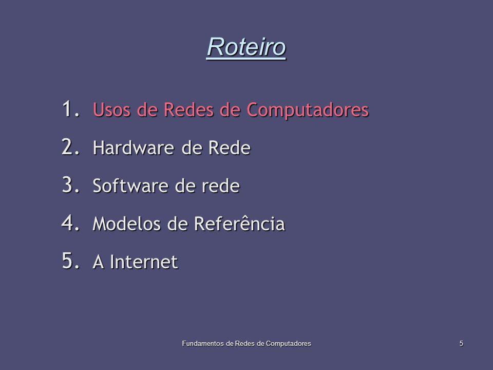 Fundamentos de Redes de Computadores5 Roteiro 1. Usos de Redes de Computadores 2. Hardware de Rede 3. Software de rede 4. Modelos de Referência 5. A I