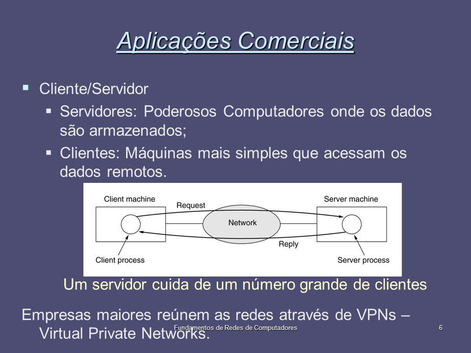 Fundamentos de Redes de Computadores6 Aplicações Comerciais Cliente/Servidor Servidores: Poderosos Computadores onde os dados são armazenados; Cliente