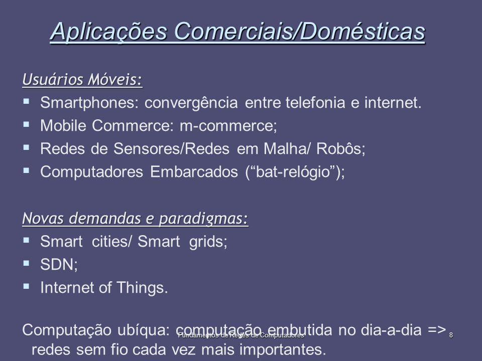 Fundamentos de Redes de Computadores8 Aplicações Comerciais/Domésticas Usuários Móveis: Smartphones: convergência entre telefonia e internet. Mobile C