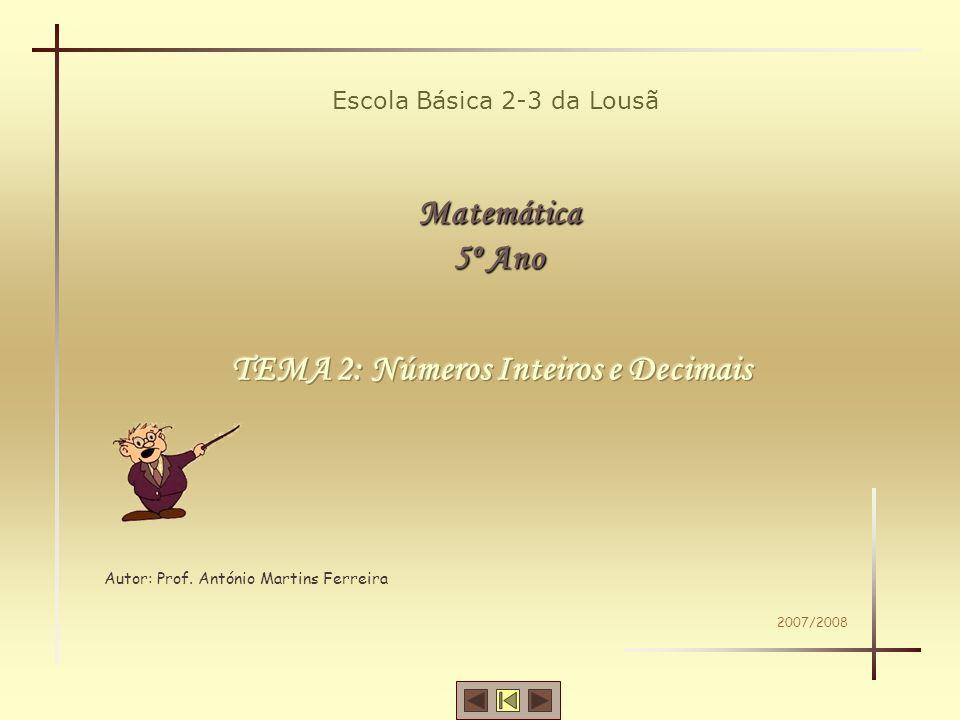 Matemática -5º ano TEMA 2 – Números Inteiros e Decimais Leitura e Escrita de Números Comparação de Números Ordenação de Números