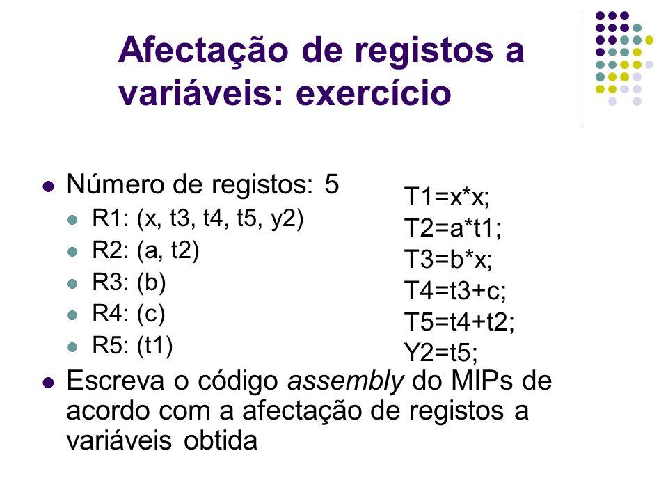 Afectação de registos a variáveis: exercício Número de registos: 5 R1: (x, t3, t4, t5, y2) R2: (a, t2) R3: (b) R4: (c) R5: (t1) Escreva o código assembly do MIPs de acordo com a afectação de registos a variáveis obtida T1=x*x; T2=a*t1; T3=b*x; T4=t3+c; T5=t4+t2; Y2=t5;