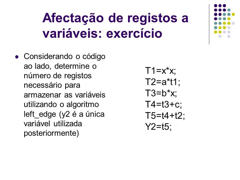 Afectação de registos a variáveis: exercício Considerando o código ao lado, determine o número de registos necessário para armazenar as variáveis utilizando o algoritmo left_edge (y2 é a única variável utilizada posteriormente) T1=x*x; T2=a*t1; T3=b*x; T4=t3+c; T5=t4+t2; Y2=t5;