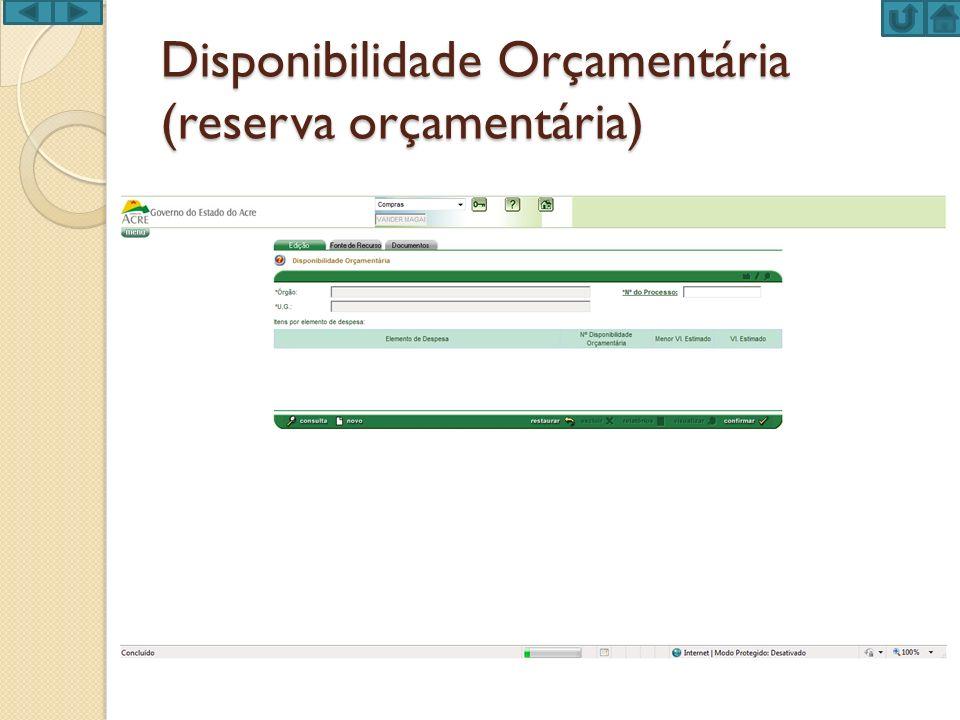 Disponibilidade Orçamentária (reserva orçamentária)