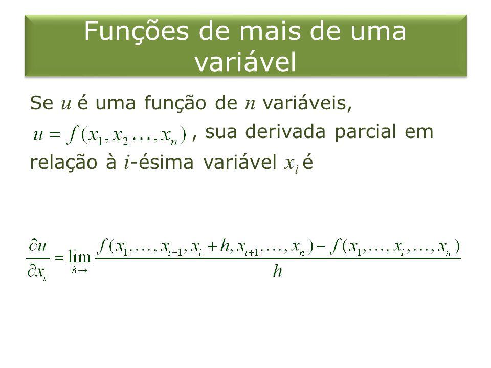 Funções de mais de uma variável Se u é uma função de n variáveis,, sua derivada parcial em relação à i -ésima variável x i é