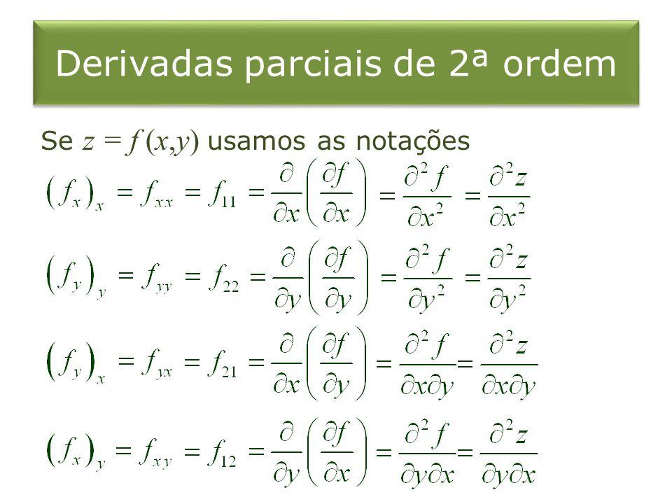Derivadas parciais de 2ª ordem Se z = f (x,y) usamos as notações